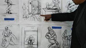 Los métodos de tortura son planeados al mejor estilo de los story board en cine.