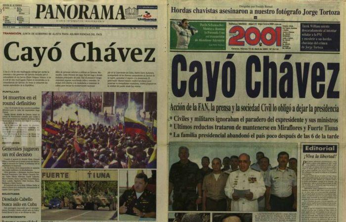 Leyenda: Los medios de comunicación impresos al día siguiente del año 2002 mostraron su verdadera versión.