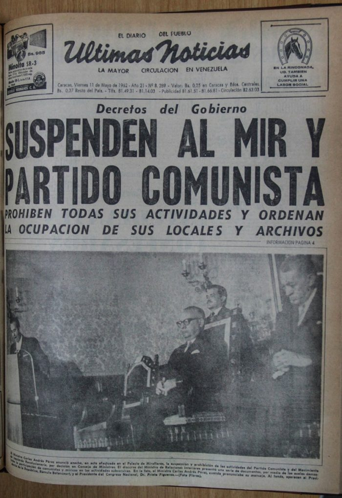 Leyenda: Publicación del impreso Últimas Noticias prohibiendo actos PCV en 1962.