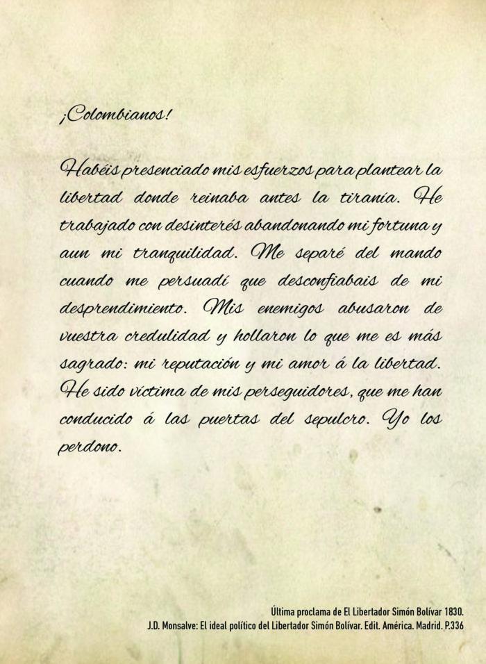 Foto del Pergamino 1 Carta empieza con colombiano
