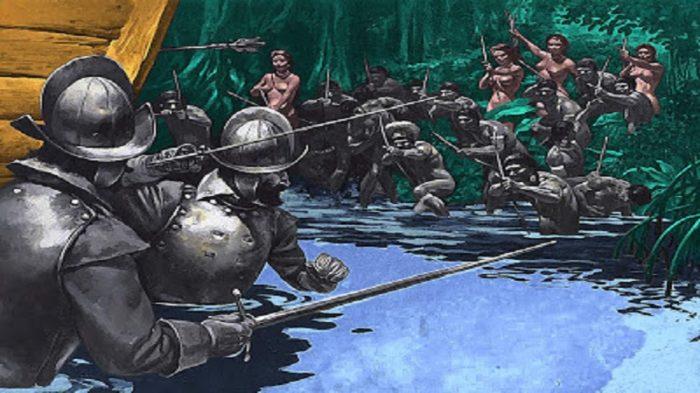 Momentos del maltrato de los aborígenes con armas. Foto: Archivo.